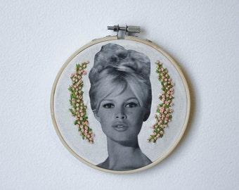 Embroidered Brigitte Bardot Hoop Little Pink Floral