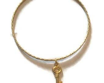 Key Charm Bracelet - Key Charm Bangle - Key Bangle - Key Bracelet - Gold Jewelry - Stacking Bangles - Key Jewelry