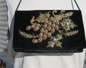 Velvet Evening Clutch With Jeweled Metallic  Embroidery reduced from 45 to 22.50