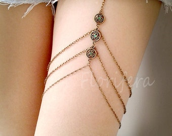 Boho Leg Chain chain garter thigh chain leg jewelry gypsy vintage bohemian prom jewelry prom accessory accessories leg harnessleg wrap