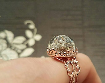Real Dandelion Ring, Rose Gold Dandelion Ring, Terrarium Ring