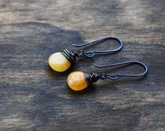 Amber Agate Wire Wrapped Teardrop Dangle Earrings-Yellow Drop Earrings-Wire Wrapped Dangle Earrings-EmmaLeah Designs