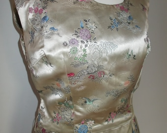 Vintage dress 50s Eileen Rose Couture oriental floral pattern satin wiggle pencil dress size small medium