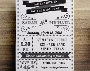 Retro Wedding Invitation / Wedding Announcement