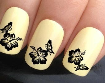 nail art set #632 x24 butterfly landing on black  flower water transfer decals stickers manicure set
