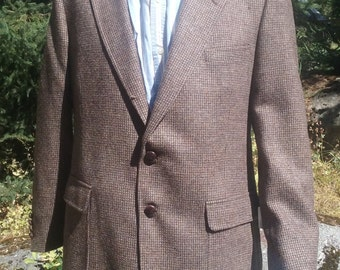SALE Vintage Mens Blazer by Arnold Palmer - Brown Tweed Size 46 Tall