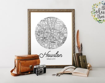 Famous City Nicknames Map print, printable map wall art decor, INSTANT DOWNLOAD - Houston - Space City