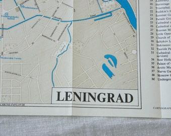 1970 St Petersburg Russia Vintage Map