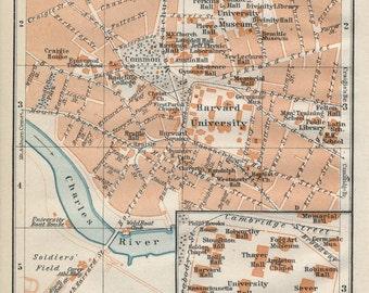 1909 Cambridge, Boston, Massachusetts, Harvard University Antique Map