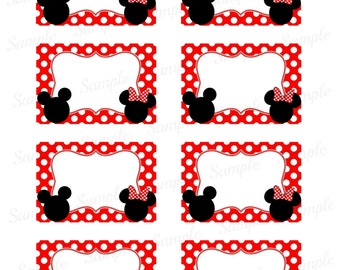 """Mickey Mouse Name Tag - Minnie Mouse Printable - Digital - Birthday Party - 2""""x3"""""""