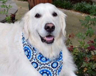Personalized Dog Bandana || Puppy Gift || Blues Black White Medallions || Geometric Bursts