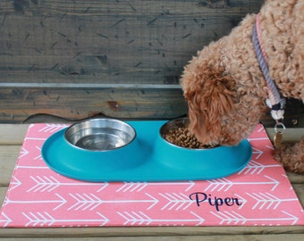 Personalized Arrows Pet Placemat - Water Resistant Bowl Mat  - Custom Puppy Gift by Three Spoiled Dogs