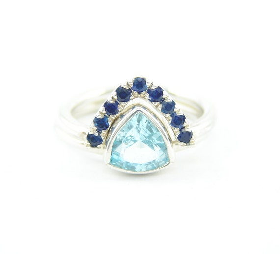Engagement Ring Blue Topaz Trillion Ring Blue Sapphire