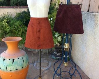 1960s skirt / 60s skirt/ mod skirt / mini skirt / Aline skirt / suede skirt / retro skirt / 90s skirt/