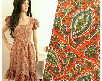 Vintage 70s Red Navy Boho Folk Paisley Cotton Dress / UK 8 / EU 36 / US 4