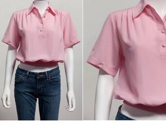 Vintage 80's Boxy Top • 80's Pink Blouse • 80's Boxy Blouse • 80's Preppy Blouse