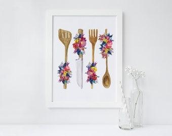 PRINTABLE Art Kitchen Utensils Floral Utensils Wood Utensils Spoon Knife Fork Kitchen Decor Kitchen art print Home Decor Apartment Decor
