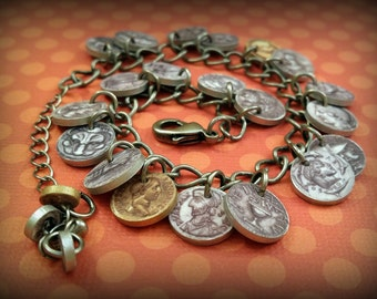 Coin Bracelet - Faux Silver and Gold Coin Bracelet - Fake Coins - Mini Coin Bracelet - Money Bracelet - Costume Jewelry - Plastic Coins