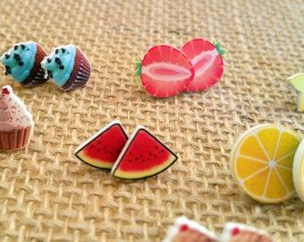 Stud Earrings - Food Earrings - Nom Nom Earrings - Foodie Earrings - Food Jewelry - Food Stud Earrings - Cupcake Earrings - Fruit Earrings