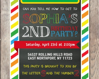 Sesame Street Invitation, Birthday Party Invitation, Sesame Street Birthday Party, Elmo Birthday Party, Elmo Invitation, Birthday Party