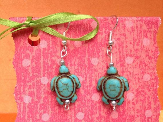 turtle earrings childrens clip on earrings blue turtle. Black Bedroom Furniture Sets. Home Design Ideas