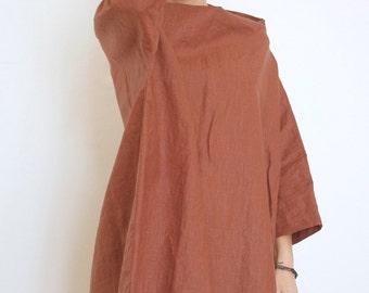 Plus Size Linen Tunic - Oversized Tunic - Linen Dress - Linen Kaftan - XXL Top - Linen Blouse - Linen Short Dress - Brick Red Linen Tunic