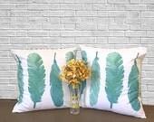 Decorative Pillows, Boho Pillow, Feather Decor, Throw Pillows, Turquoise Decor, Watercolor Fabric, Boho Decor, Bohemian, Pillow Cover