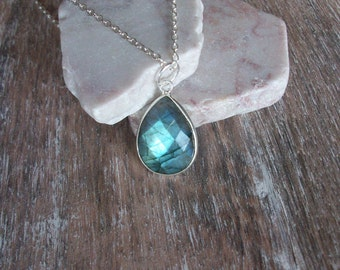 Labradorite Necklace on Sterling Silver Chain Labradorite Necklace Teardrop Pendant High Blue Flash Labradorite Labradorite Pendant LB062