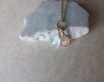 Rainbow Moonstone and Sunstone Gold Filled or Sterling Silver Chain Unique Sunstone and Rainbow Moonstone Drop Pendant Wire Wrapped N0753