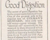 Original 1923 Colman's Mustard, Matted Ad for Unique Decor, food ad, Vintage paper Ad for unusual gift, Bull's Head, quirky gift, desk art
