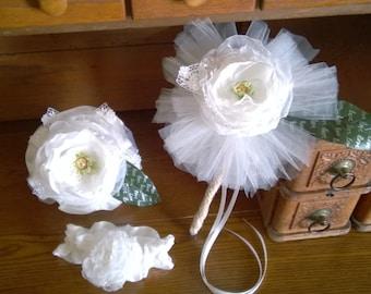 White magnolia glamelia flower girl wand, personalized bridesmaid bouquet, personalized wedding wand