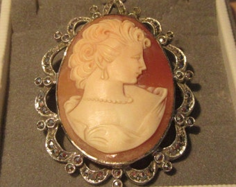 Antique Large Sterling Silver & Diamond Like Marcasite 2 Inch Fine Hand Carved Shell Cameo Lady Brooch Weighing 15.8gms - Top Quality