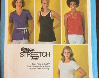 Simplicity 8961 - 1970s Time Saver Stretch Knit T Shirts and Tank Tops - Size 10 12 14