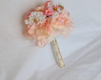 Bridal Bouquet - Pink and Gold Bouquet - Romantic Bouquet - White Bouquet - Rose Bouquet - Wedding Bouquet - Gold Bouquet
