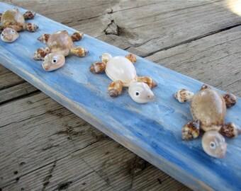 Sea Shell Turtles, Miniature Turtles, Turtle Figurines, Nautical Home Decor, Turtle Art, Turtle Figurine,