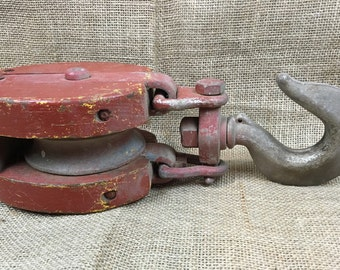 Antique Red Wooden Industrial Barn Pulley w/Large Hook
