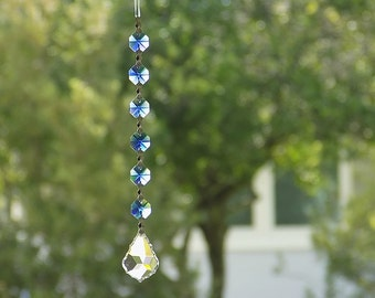Blue Crystal Suncatcher Rearview Mirror Car Charm Crystal Car Accessories Hanging Window Light Catcher Car Accessories