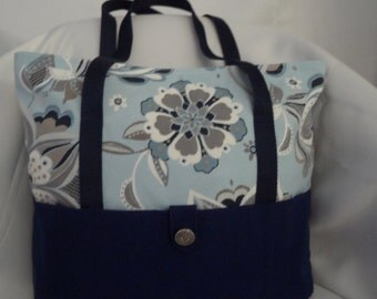 Floral canvas tote bag, zipper tote bag or travel bag with 2 shoulder straps