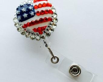 American Heart Flag 3D Retractable Badge Reel