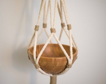 Natural macrame plant hanger, organic macrame home decor plant holder, natural decor hanging plant holder, natural organic macrame hanger