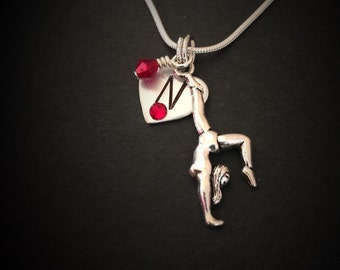 Hand stamped personalized gymnnast necklace. Gymnastics, Tumbling, gymnastics team gift, gymnast birthday, Gymnastics Coach team gift