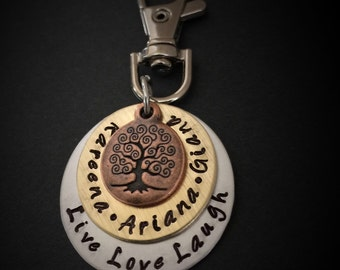 Hand Stamped Family Tree Keychain, Hand Stamped Mothers Key Chain-Tree Keychain-Grandmother Key Chain, by 3sisterscollections, lobster clasp