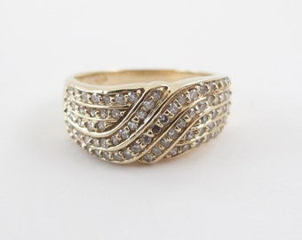 Diamond Anniversary Cocktail Band 14k Yellow Gold Ring Size 9 1.00 carat