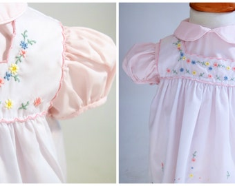 1960s Pink Embroidered Baby Dress, Baby Clothes, 12 Months