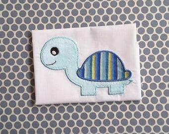 Applique Machine Embroidery Design Baby Boy Turtle