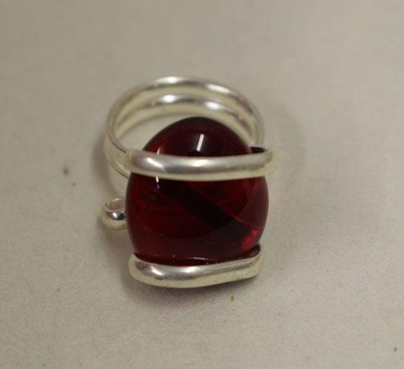 Ring Silver Purple Brown  Colored Glass Handmade Glass Silver Jewelry Ring Fun Purple Brown  Color Glass Unique