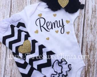 Baby Girl Clothes Personalized  | Bodysuit Optional Leg Wamer Headband | New Baby Shower Gift | Black And Gold | Take Home Outfit |