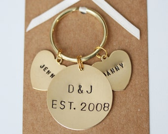 Personalised Couples Hand stamped Keyring