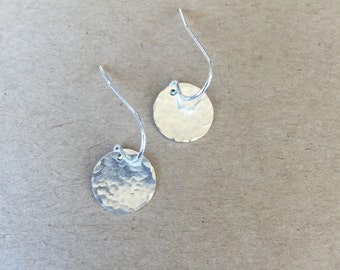 Silver Hammered Disc Earrings