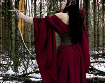 I-D-D Medieval Renaissance Faire Huntress  Archeress Gown Cranberry Dress